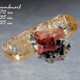 BOOK_SPECIMEN-A++++ Rare Red Beryl (also sometimes called Bixbite) with Bixbyites – Location: Thomas Range, Juab Co., Utah.